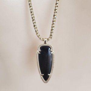 Kendra Scott Shaylee Black Arrowhead Necklace Rare